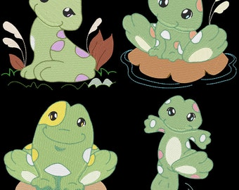 FANCIFUL FROGS - 30 Machine Embroidery Designs Instant Download 4x4 5x7 6x10 hoop (AzEB)