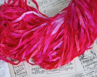 Hand Dyed Ribbon - LIPSTICK KISSES, quarter inch wide ribbon, 5 yards