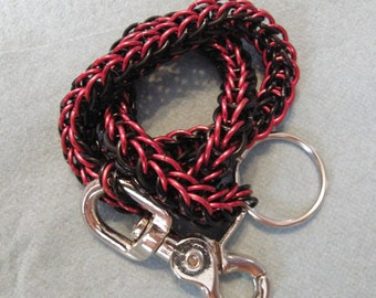 Black and Red Biker Chainmaille Wallet Chain full persian style