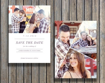 Vintage save the date postcard template digital photoshop for Free vintage save the date templates