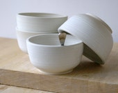 Made to order - Set of four small stoneware soup bowls choose your colour