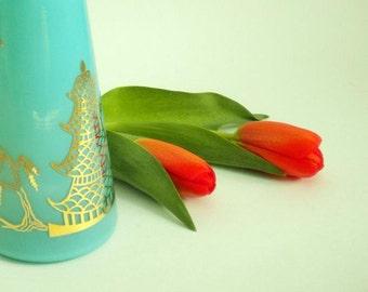 Vintage Aqua and Gold Japanese Pagoda Theme Bud Vase