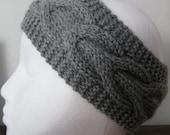 Knit Head Band Head Wrap Light Gray Ultra Soft Yarn