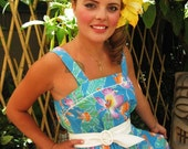 Vintage 1980's Aqua Floral Print Hawaiian Sun Dress. Small
