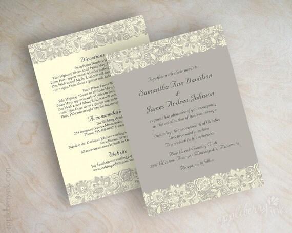 Ivory Wedding Invitations: Lace Wedding Invitation Victorian Wedding Invitations