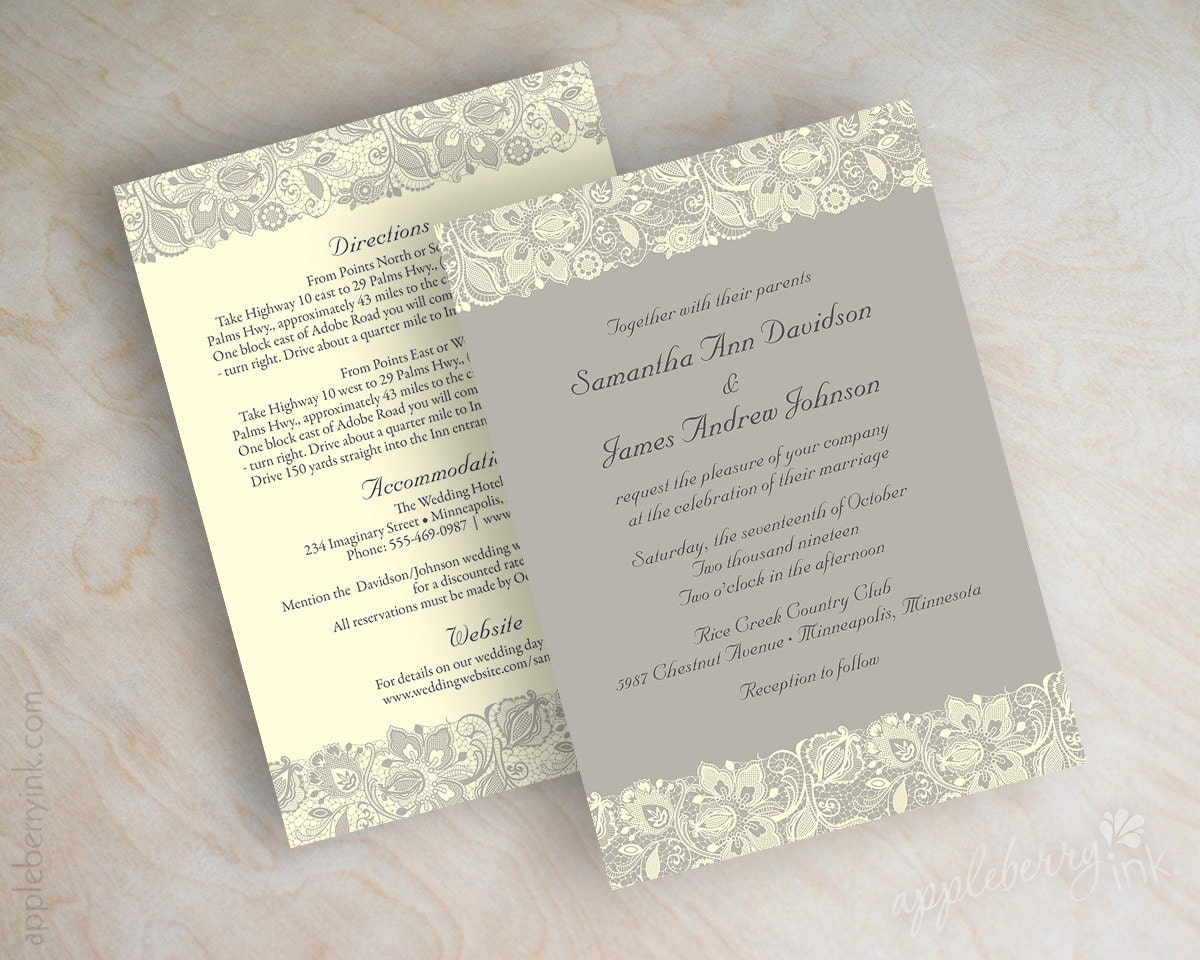 Lace Wedding Invitation Victorian Wedding Invitations