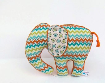 Chevron Plush Elephant Aqua Orange Green Nursery Decor