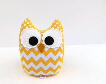 Yellow Chevron Owl Plush Baby Toy Minky Softie Mini Pillow