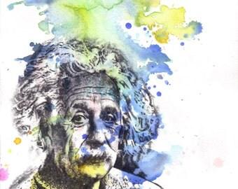 Albert Einstein Portrait Painting Art Print From Original Watercolor Painting Pop Art Print Poster