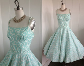 1950s Vintage Baby Blue and White Spring Dress
