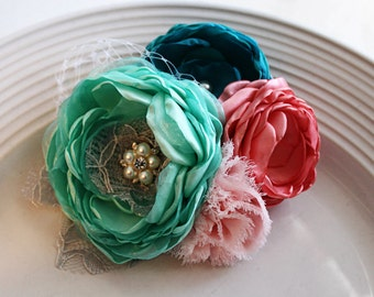 Teal, Mint, Coral, Light Pink wedding hairpiece