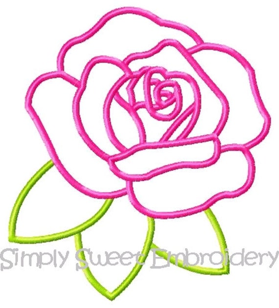 Rose machine embroidery applique design from