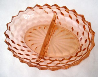 vintage pink depression glass jeannette cubist cube divided serving dish