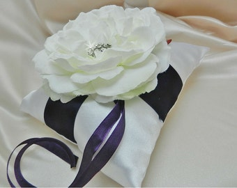 Lapis Purple and White or Ivory Wedding Ring Bearer Pillow Deep Dark Purple