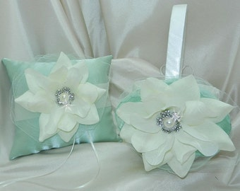 Mint Green and Ivory Bridal Pillow and Basket Set - Ring Bearer Flower Girl