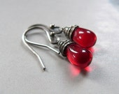 Red Drop Earrings, Wire Wrapped SIlver Earrings, Casual Dangle Earrings