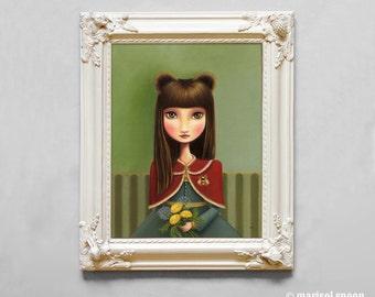 Oil painting print Bear girl art The Beekeeper 11x14 print by Marisol Spoon