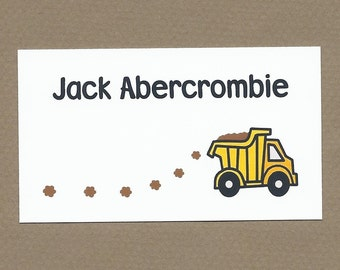 Dump Truck Calling Cards - Dump Truck Treat Bag Tags, Dump Truck Birthday Party Favor Bag Tags, Toddler Boys Enclosure and Calling Cards