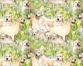 golden retriever mural cotton fabric