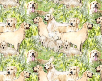 golden retriever mural cotton (or fleece) fabric with matching coordinate color fabric
