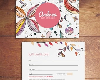 SALE Andrea double sided gift certificate design - Instant download