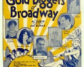 The Gold Diggers of Broadway Song Sheet, Flapper 1929 Tip Toe Through the Tulips with Me