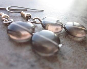 Artisan Handmade Earrings, Smoky Quartz Gemstone, Warm Winter Grey / Gray, Modern, Simple, Minimalist, Neutral, Winter Fashion, For Her