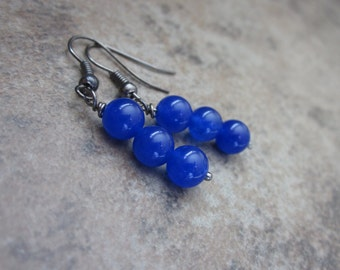 Bright Blue Candy Jade Gemstone Earrings, Stone Trio, Navy Blue, Black Gunmetal Wire, Vibrant Color, Artisan Jewellery, Made in Canada
