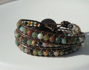 Fancy Jasper Beaded Leather Wrap Bracelet with Flower Button