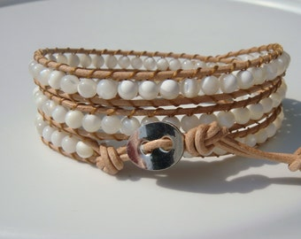 Mother of Pearl Beaded Leather Wrap Bracelet READY TO SHIP