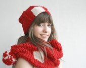 Red And Cream  Patchy  Wool Knit  Scarf And  Hat WARM SET Perfect Gift Under 100 For Women For Girl Friend Mothers Day Gift