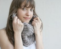 Handmade Milky brown  Mohair Chunky Loop Cowl Collar Scarf  Mothers  Day gift