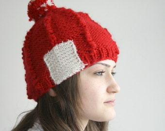 Red Wool Hat Beanie Cream Patchy with Big PomPom Valentines Day Gift For Her