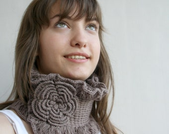 Brown Neckwarmer Collar Scarf   gift for women girls Mothers Day Gift Under50  for Her for Mom for Your Lady Gift Under 50