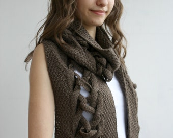 Brown Wool Special Design By DenizGunes Knit  Scarf Perfect Gift Under 75 For Women For Girl Friend Gift