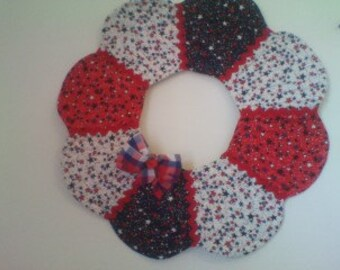 Red white and blue quilted wreath