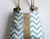 Handbag Blue chevron carry all shoulder bag with burlap