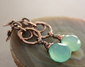 Luxurious mint color copper earrings with faceted briolette chalcedony stones on hoops