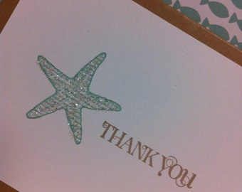 Starfish beach wedding thank you note cards
