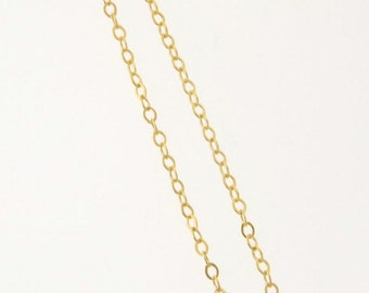ANY LENGTH 14K 1.6mm Gold Filled Flat Round Cable Chain Necklace - Custom Lengths Available, Made in USA/Italy