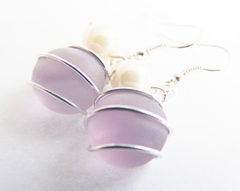 Sea Glass Bridesmaids sets - Lavender - Glass Pearl - Other Colors Available - Necklace available - Weddings bridesmaids affordable seaside