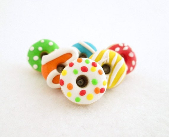 Colorful Donut Push Pins - Set of 6 Multi-Color Polymer Clay Food Pushpins