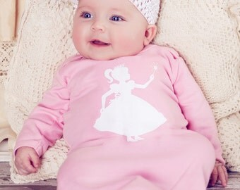 Royal Princess Nostalgic Graphic Tees Infant Gown / Day Gown in Pink with White FREE SHIPPING