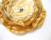 Gold and Champagne Fabric Flower Brooch --- Flower Pin --- OOAK --- Bridal Accessory --- TAGT team