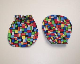 ON SALE Multi Colored Geometric Baby Mitts