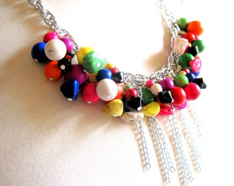 bright colors beaded necklace with chain waterfall accent for spring, summer or winter - statement jewelry