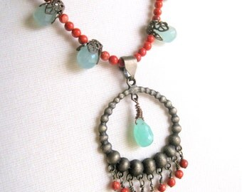 mint gemstone and coral beaded pendant necklace - chrysoprase, red coral, antiqued brass - boho chic, spring, summer