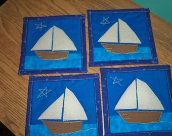 Set of 4 Quilted Coasters - Sail Away