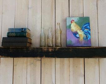 "Distressed - Wooden Shelving - Floating Wall Shelf - Farmhouse Chic - Shelves - Wooden Shelving -  Measures 40"" long x 5.25"" deep x 4"" tall"
