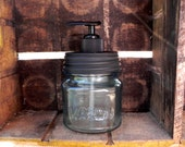 Stained Glass Turquoise Square Mason Jar Soap Dispenser - LoneStarSoapery